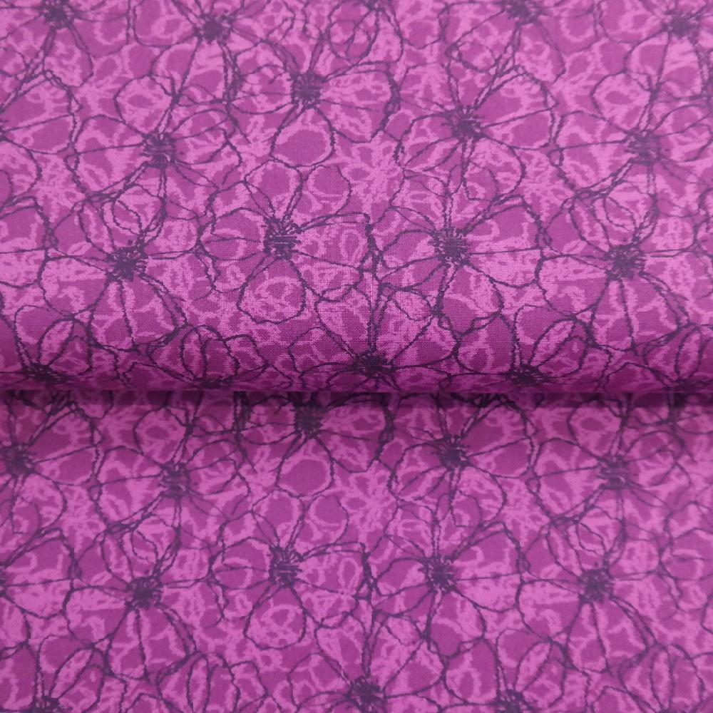 bavlna fialová kvety š.110