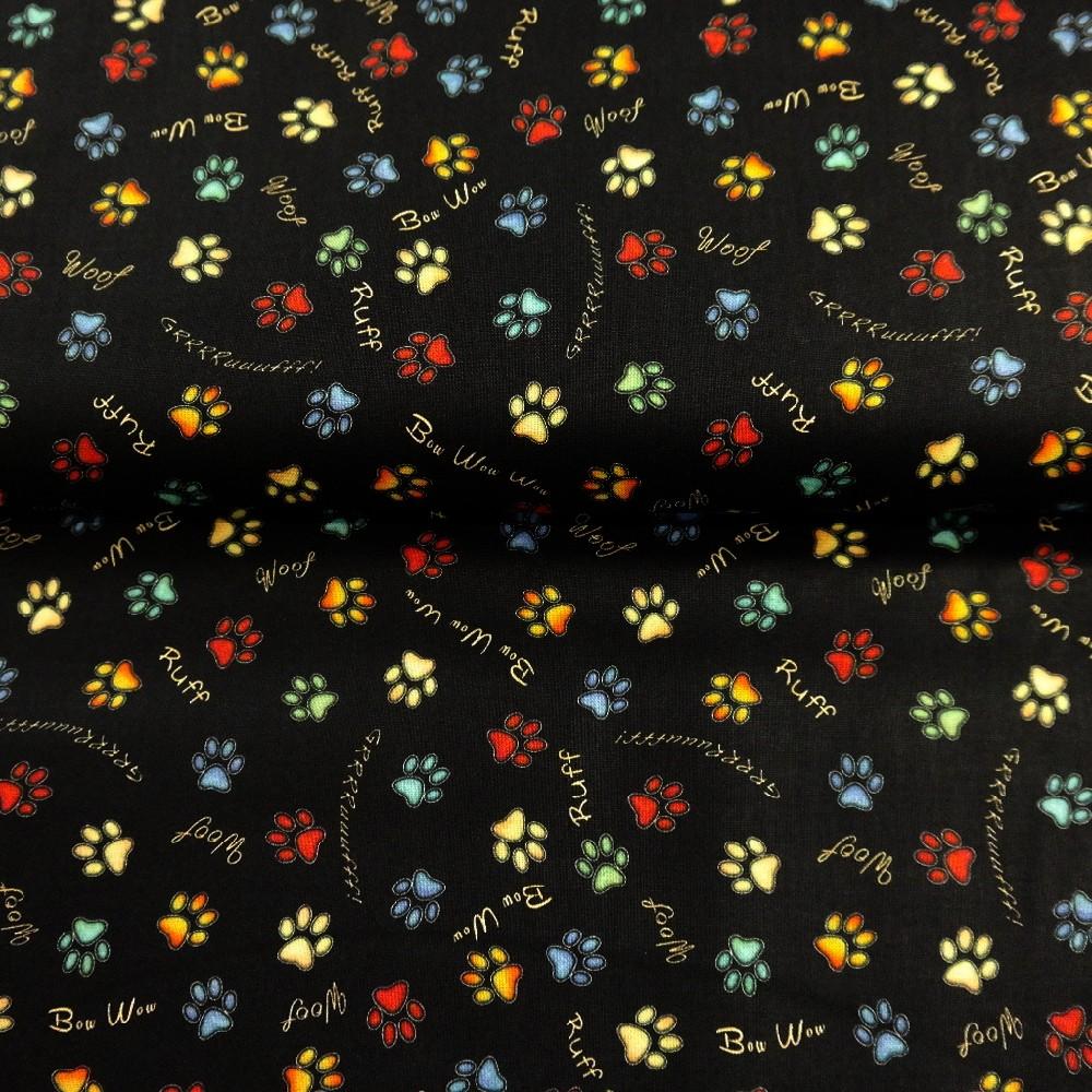 bavlna černá barevné ťapky š.110