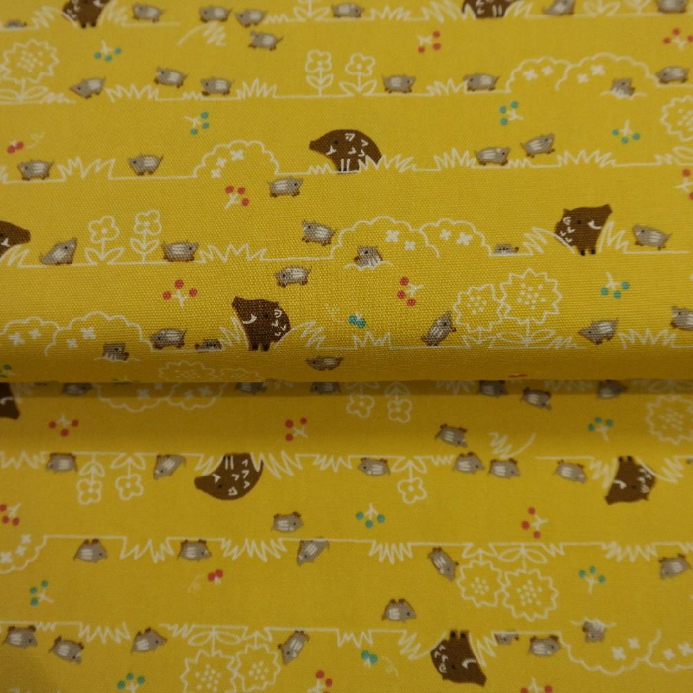 bavlna žlutá prasátka š.110