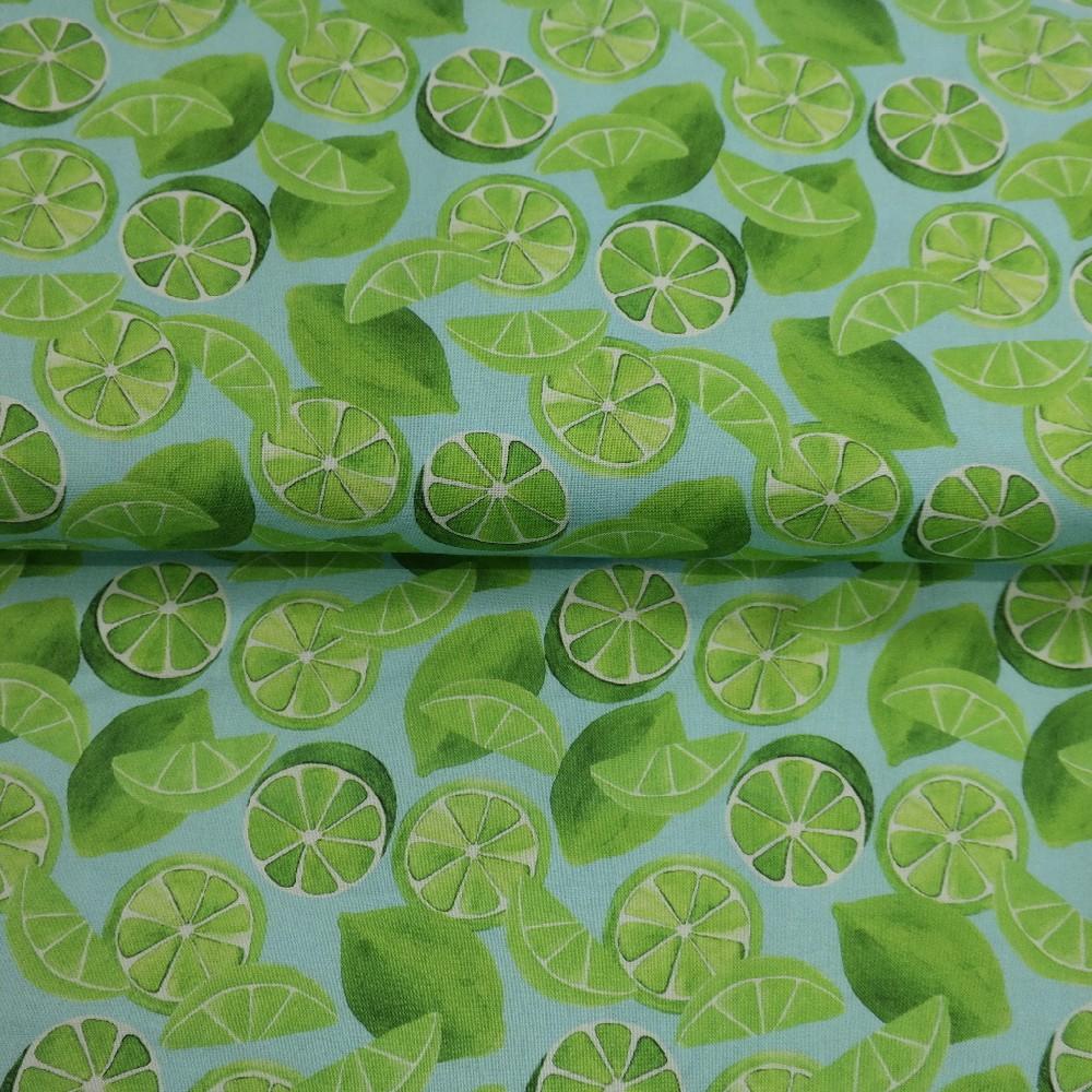 bavlna modrá zelený citron š.110