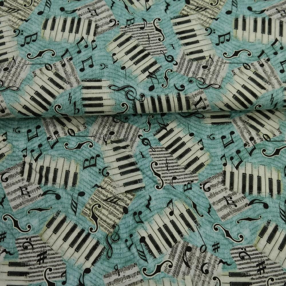 bavlna modrá klávesy š.110