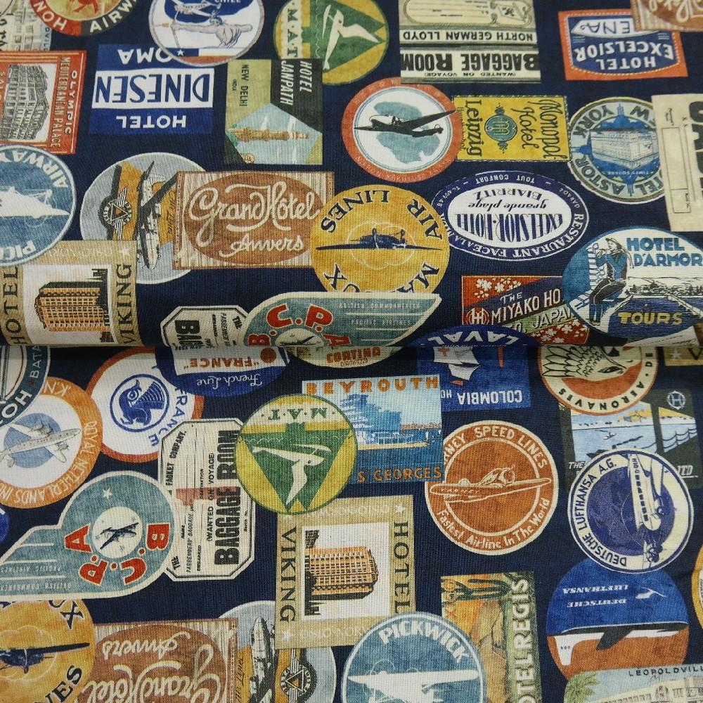 bavlna modrá cestovatelské nálepky š.110