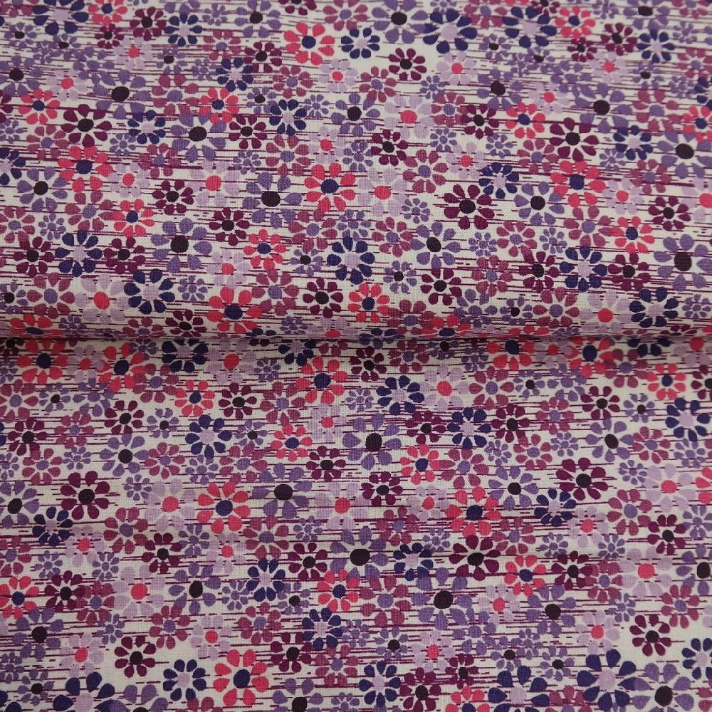 bavlna fialové kvítka š.110