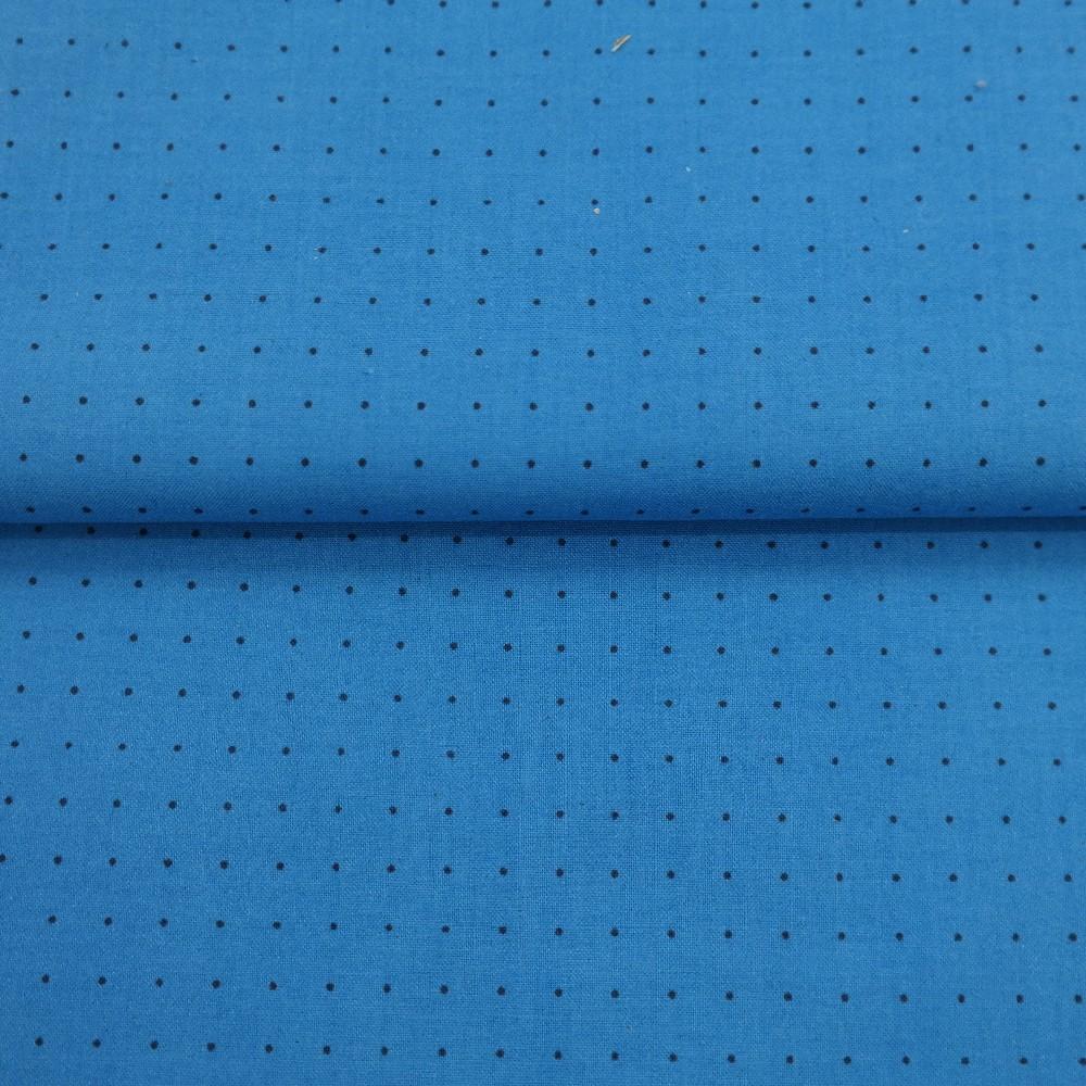 bavlna modrá černá tečka š.110