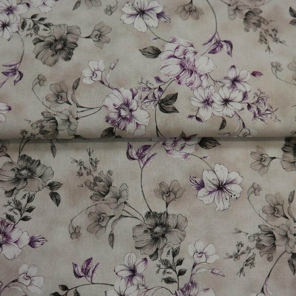 bavlna šedá fial.květ š.110