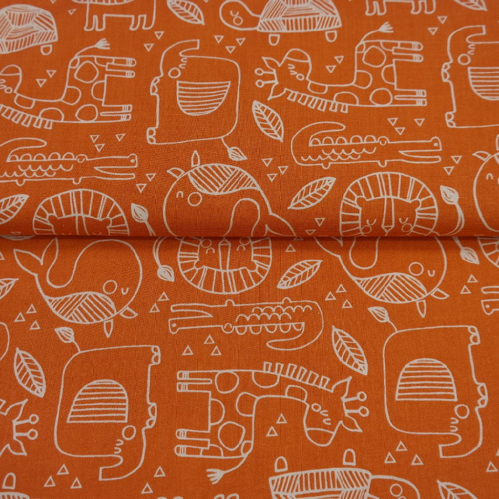 bavlna oranžová lev verlryba želva š.110