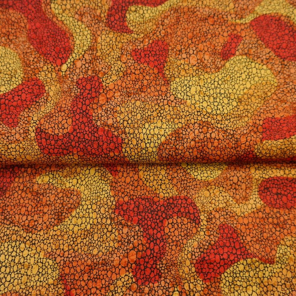 bavlna oranž/*červ/žlutá bubliny š.110