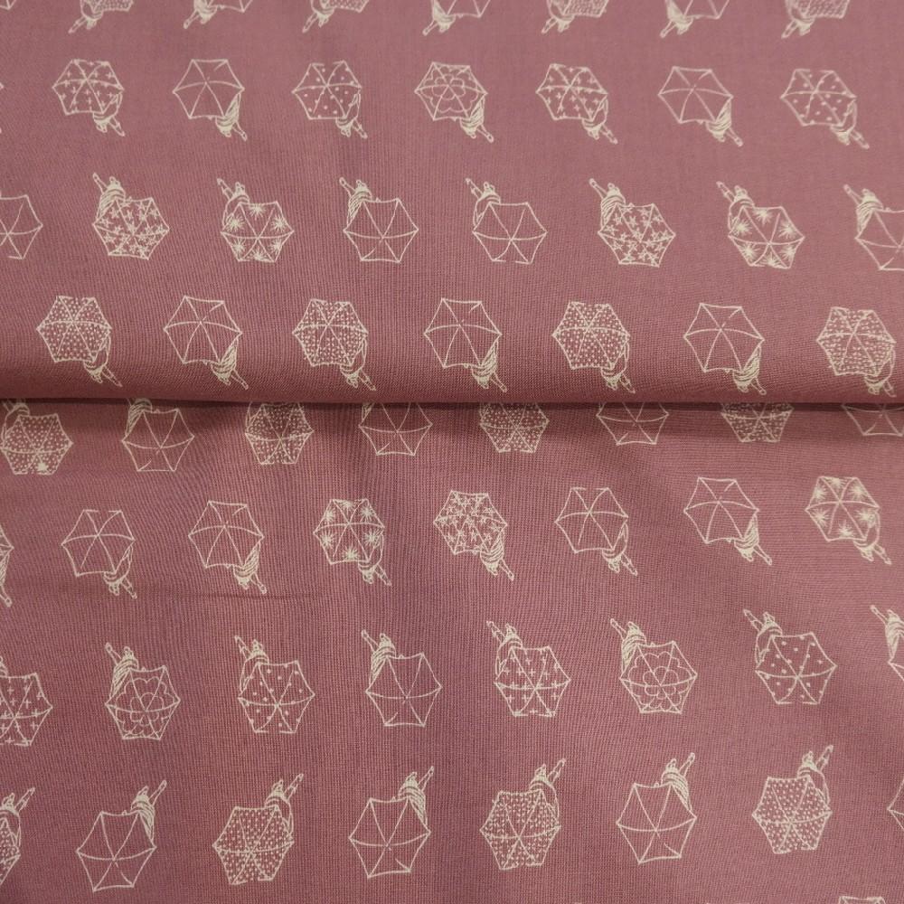 bavlna starorůžová deštníky š.110