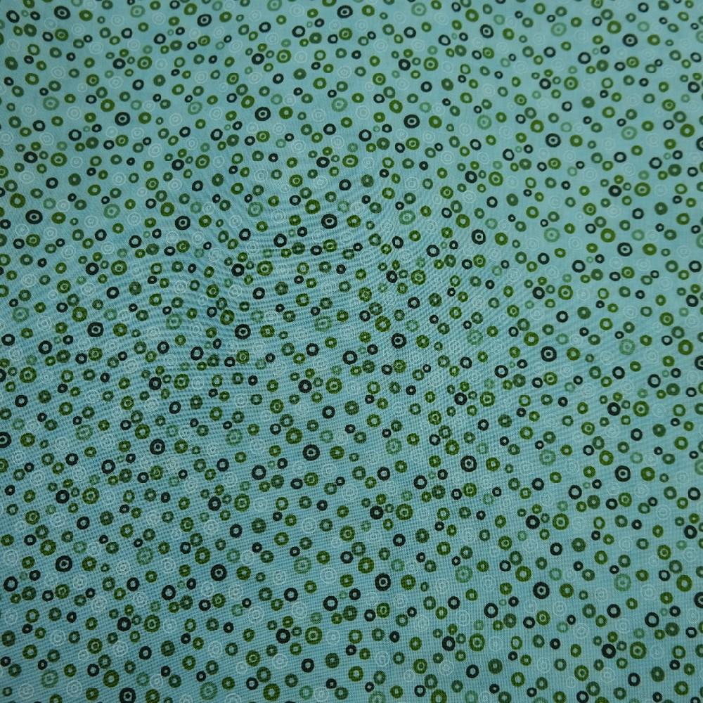 bavlna tyrkysová zel./ bílé/černé kroužky š.110