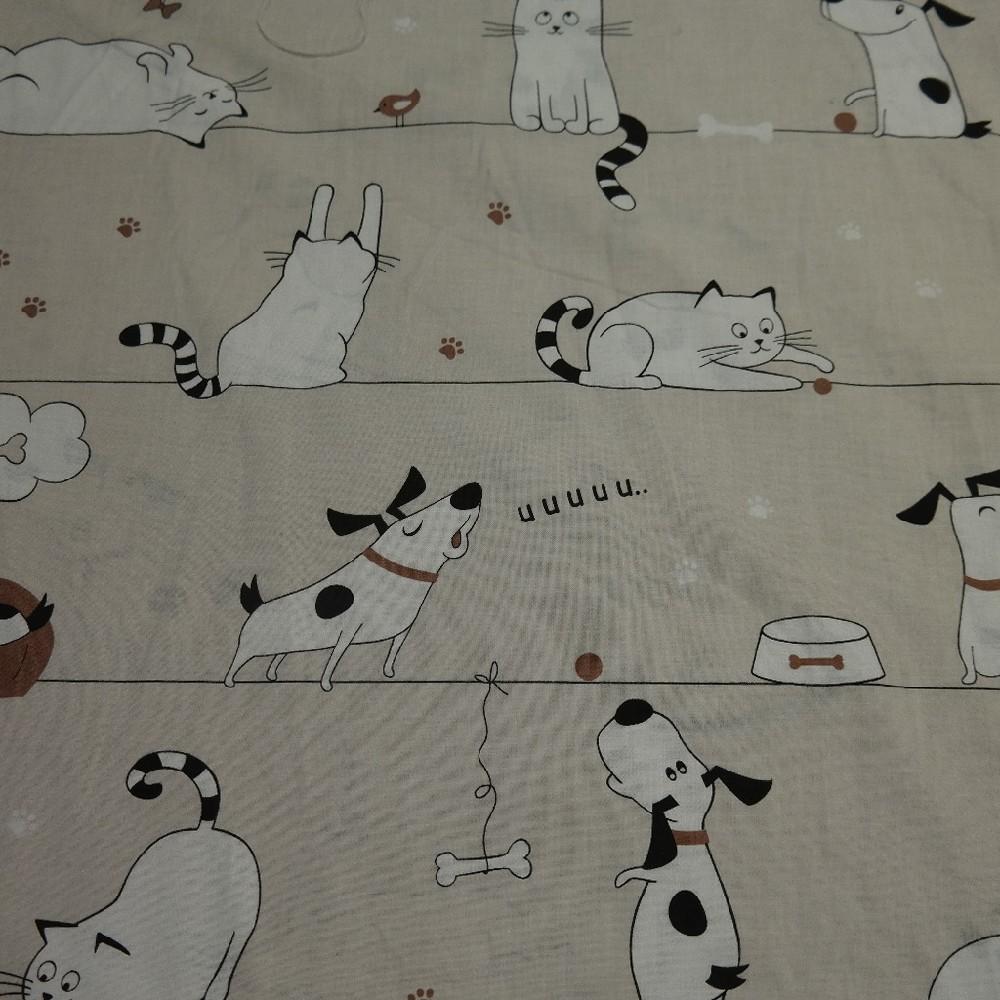 bavlna sv. hnědá kočka a pes
