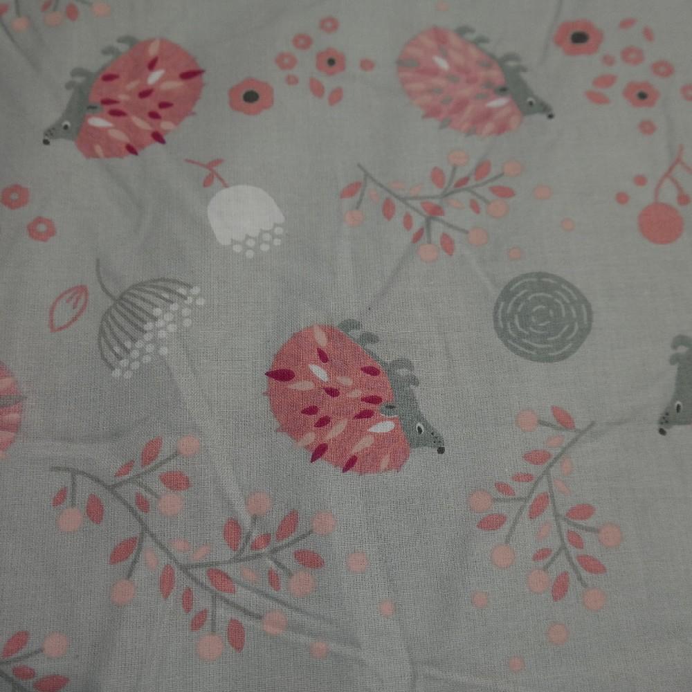 bavlna šedá růžový ježek