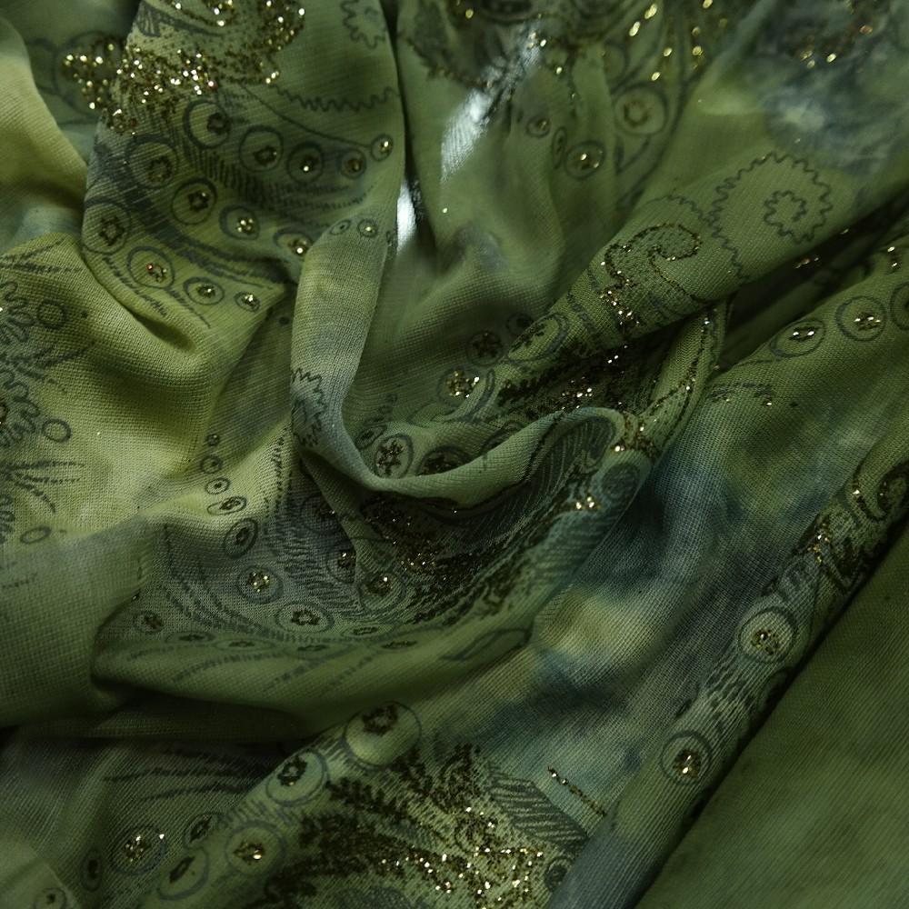 šifon zlatý ornament na zel