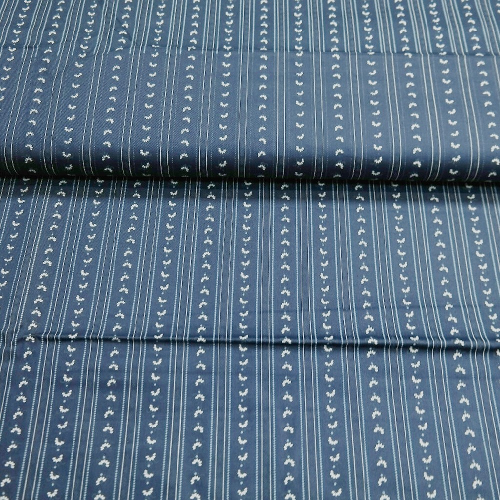 bavlna satén Nj. tm.modrý pruh kvítek 100%BA