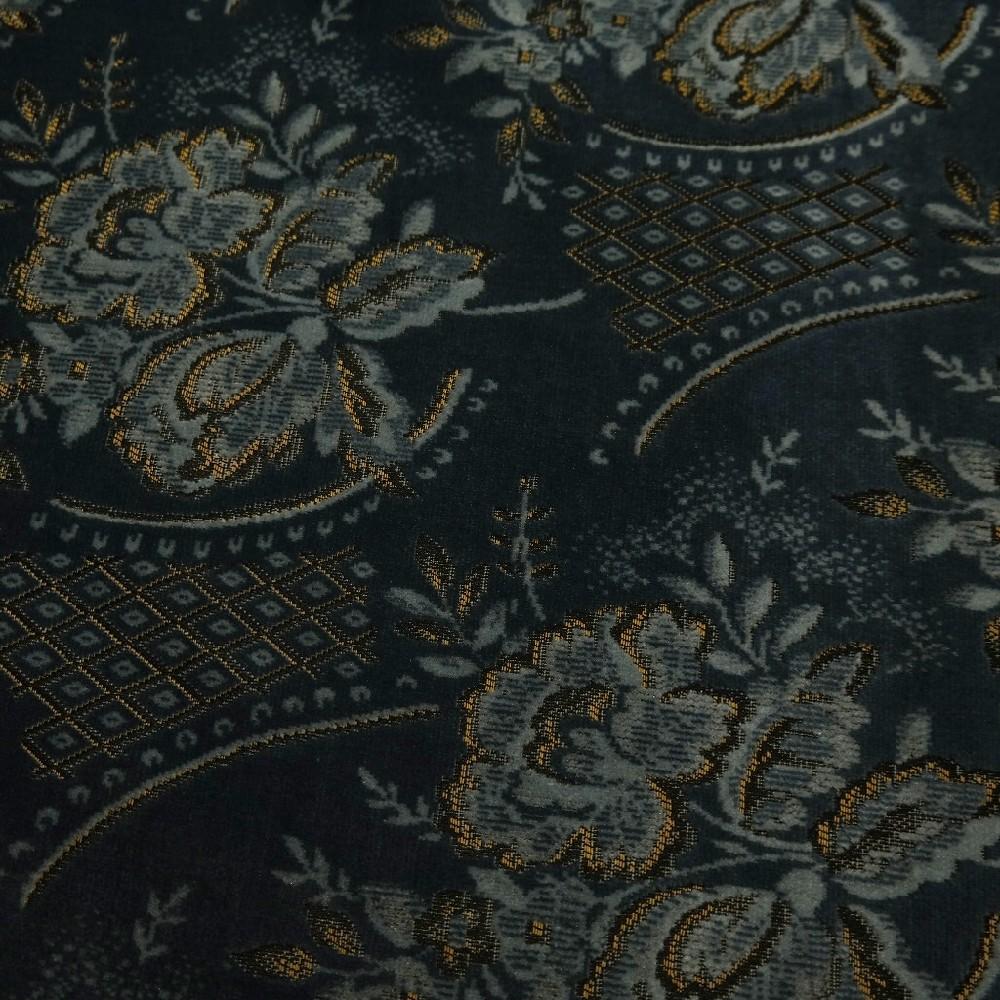 microplyš modro/šedý zlatý vzor