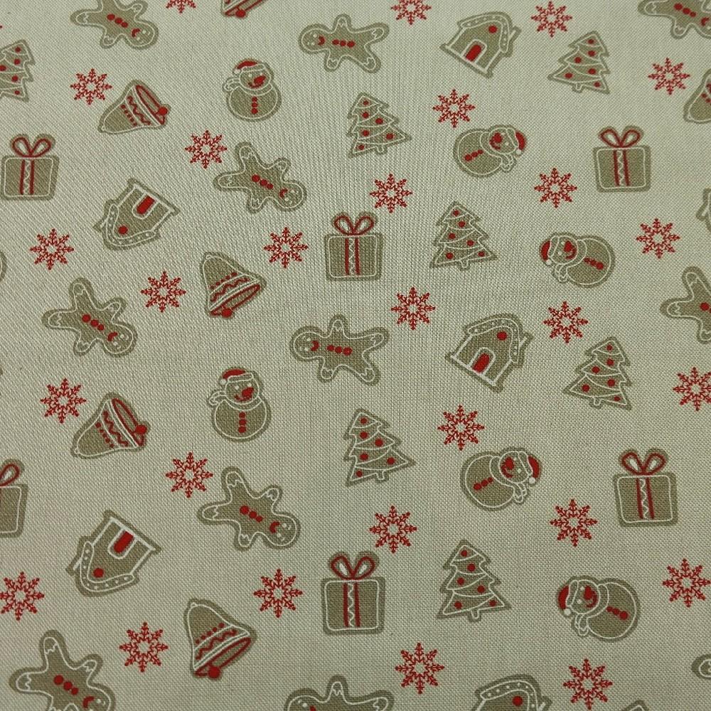 bavlna vánoční béž./perníčky