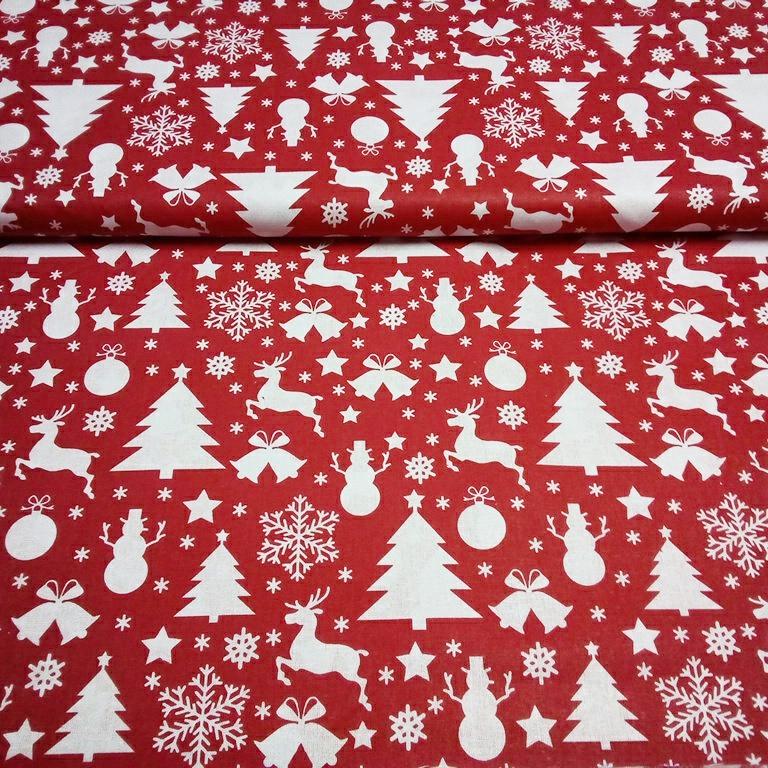 bavlna červená vánoční