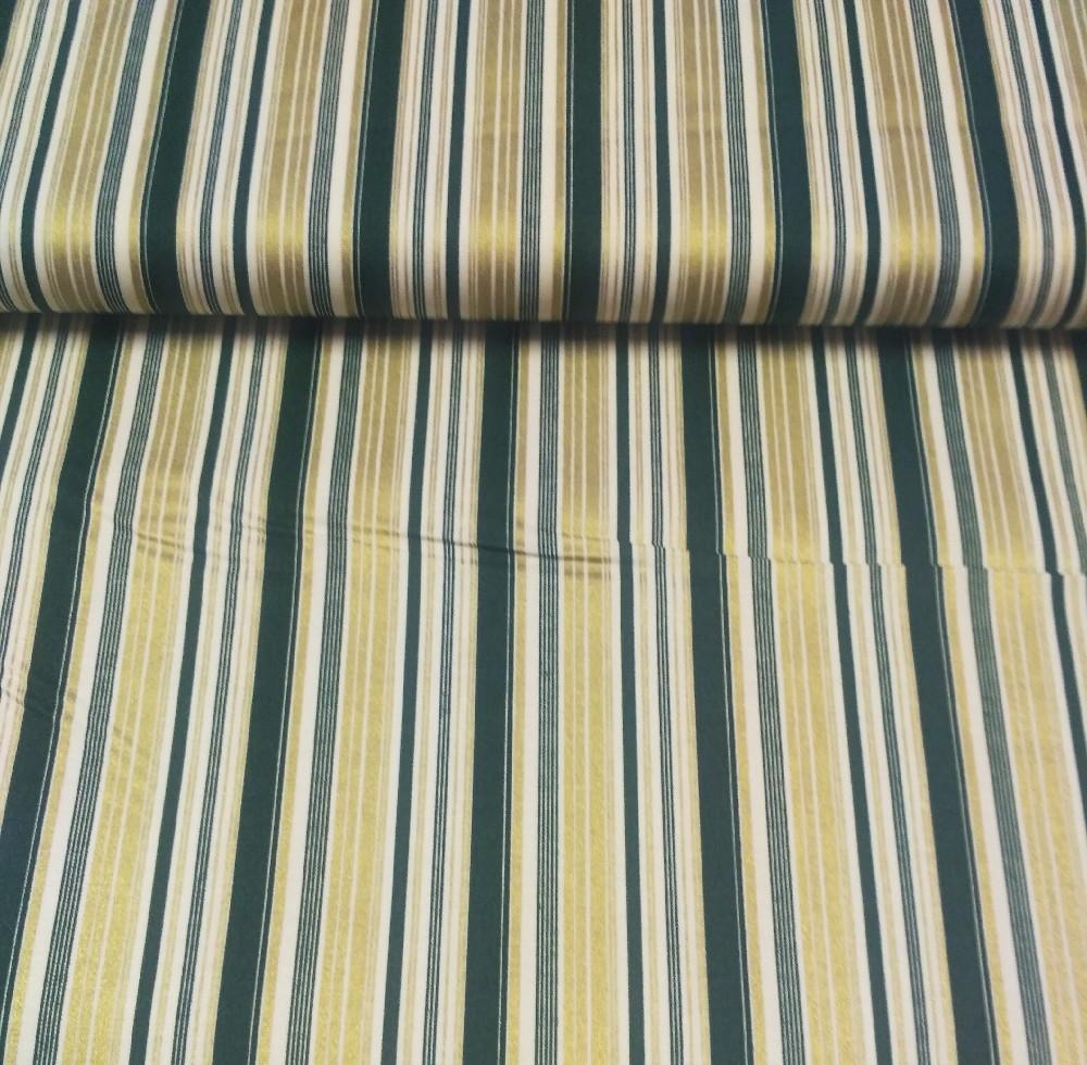 bavlna zeleno/zlatý proužek