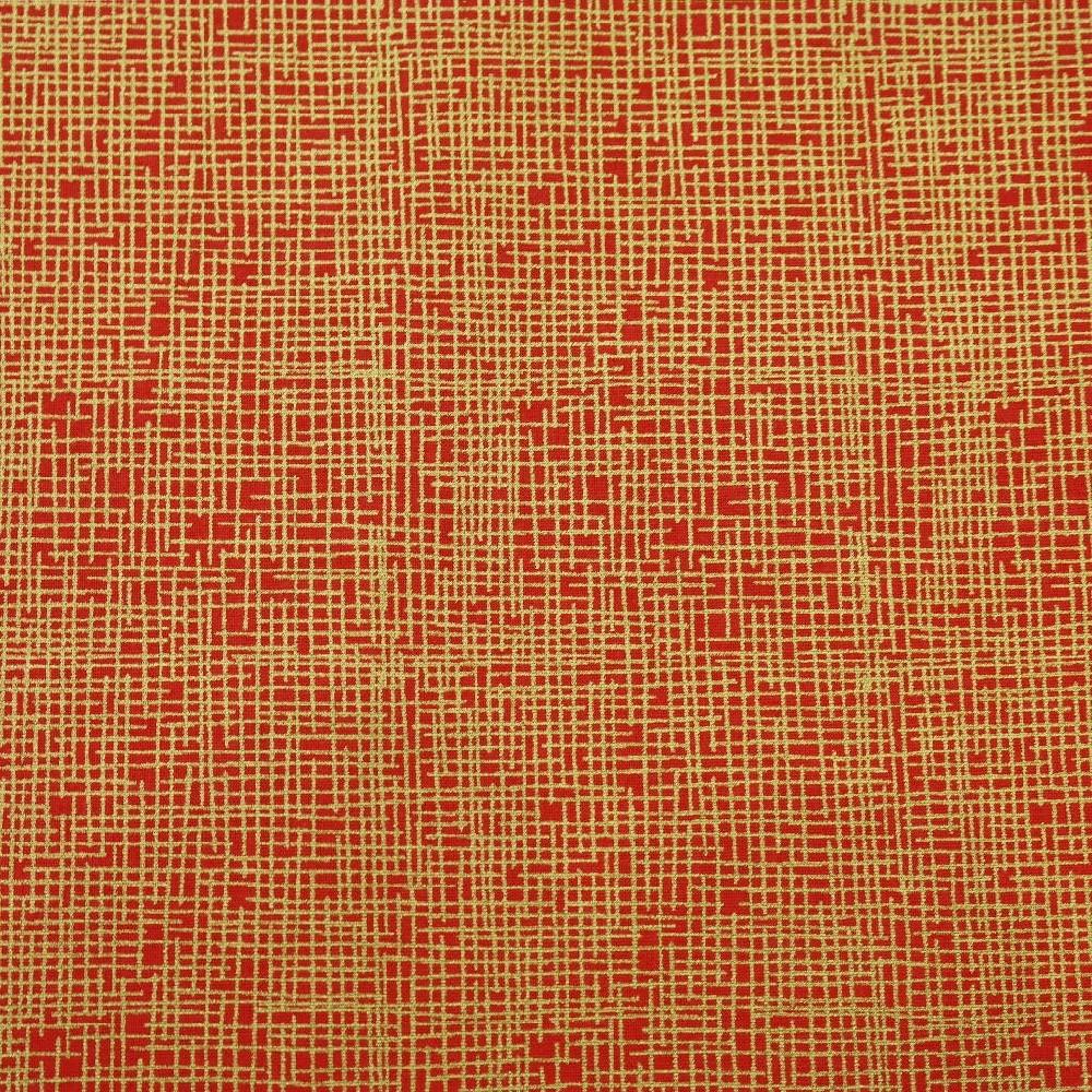 bavlna červená/zlatý vzor