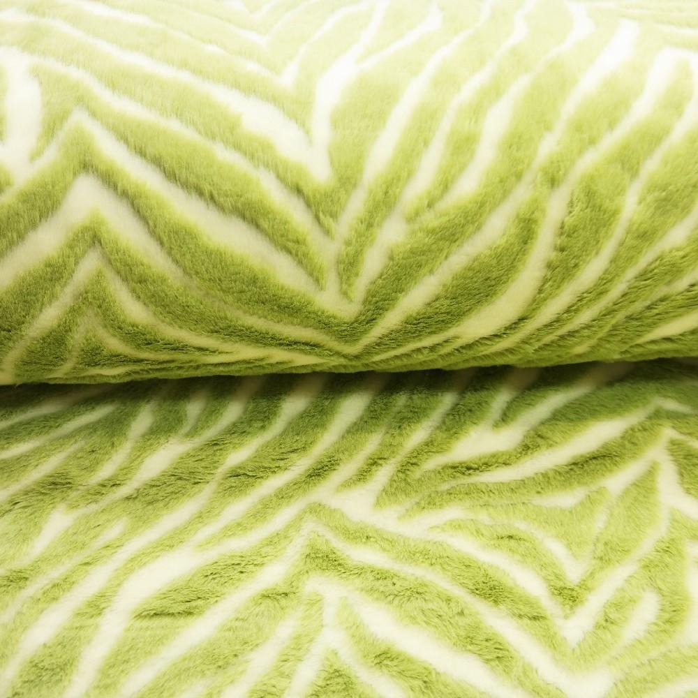 plyš bílo/zelený vzor