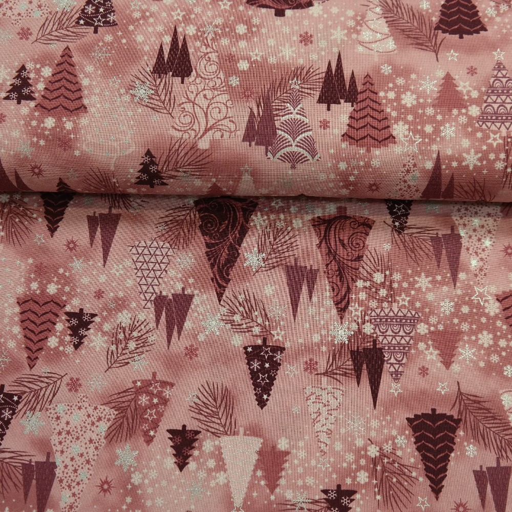 bavlna vánoční strom tm.růžová š.110