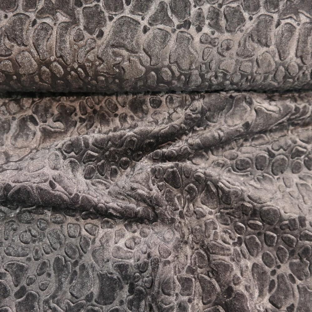 velur šedý vytlačovaný vzor