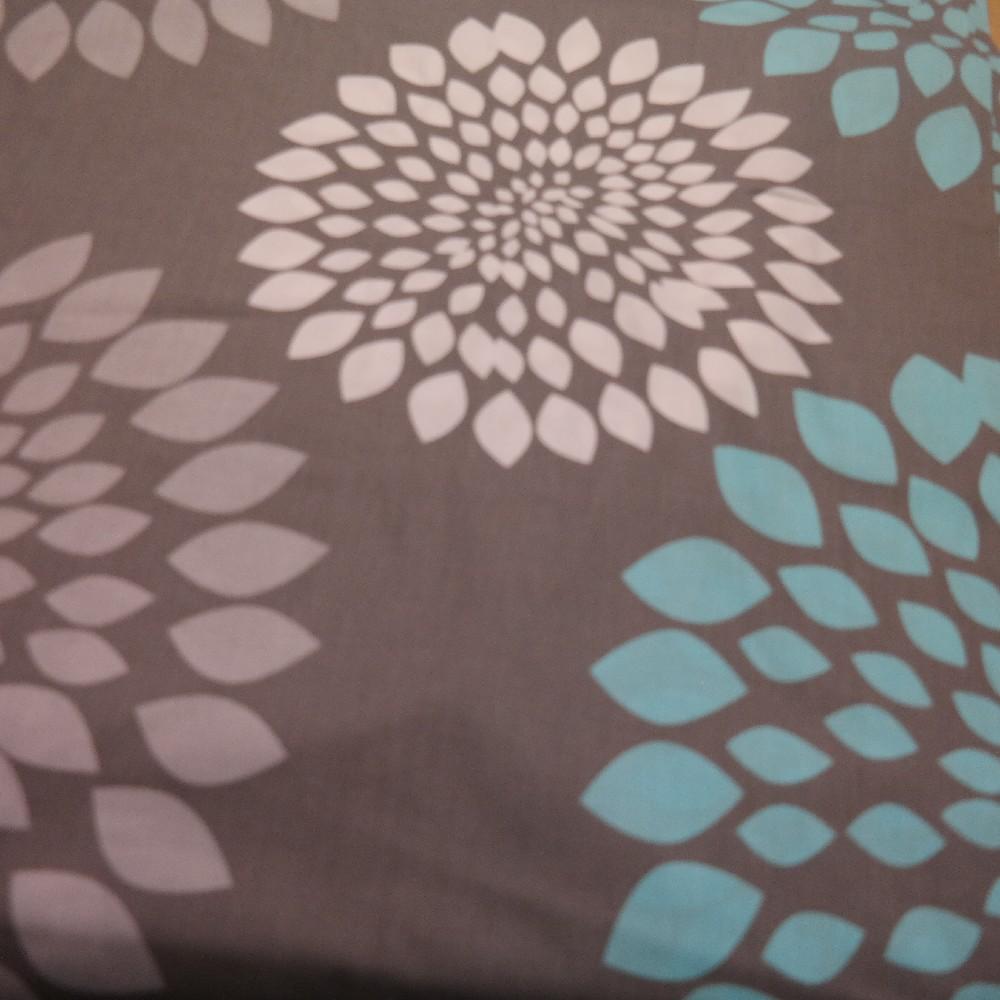 bavlna šedá tyrkys/bílý květ