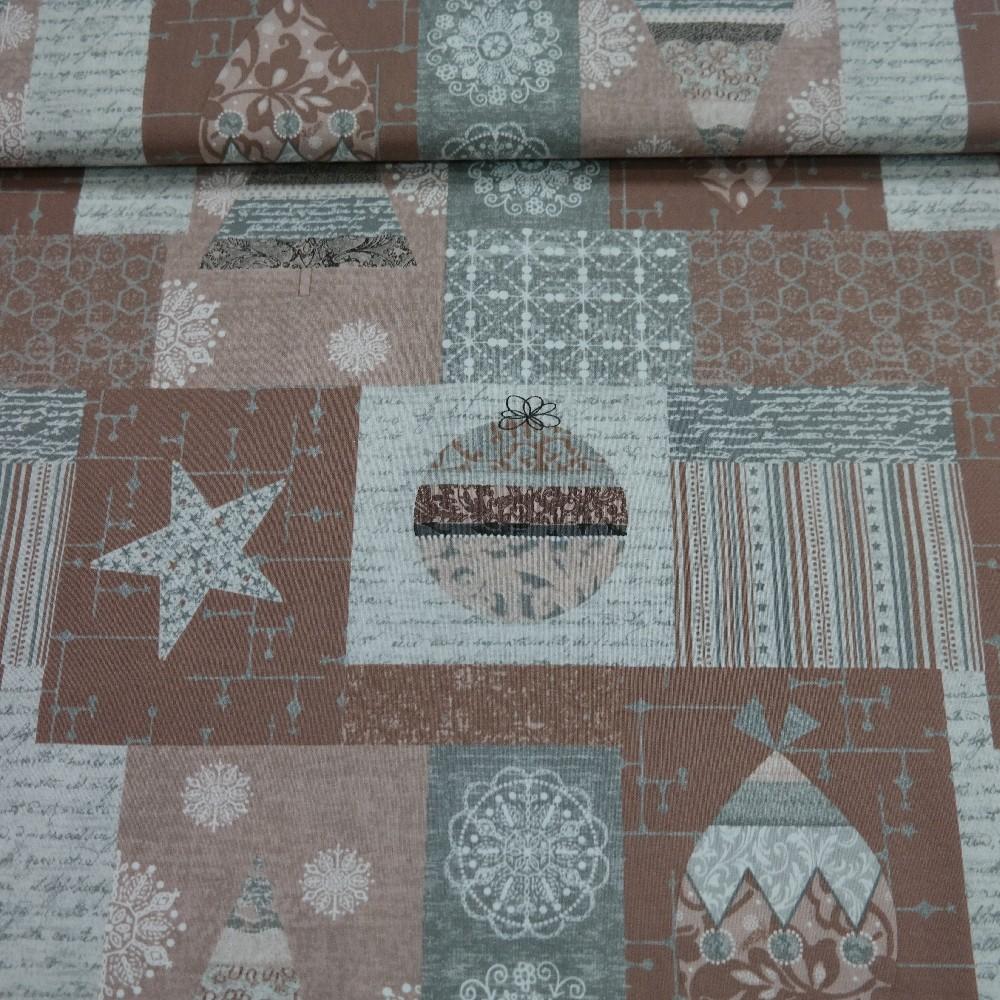 bavlna vánoční hnědo-šedá š.110