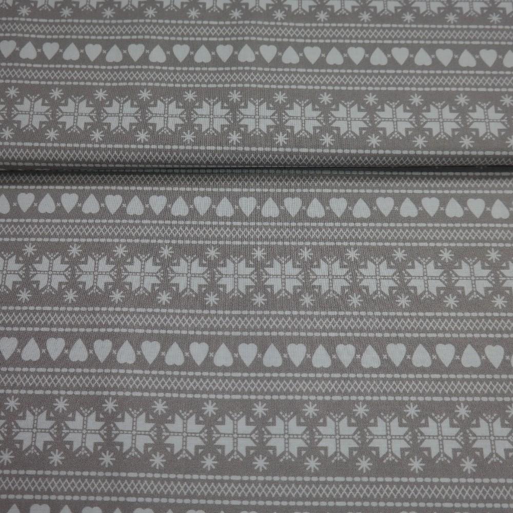 bavlna zimní vzor šedo-bílá š.110