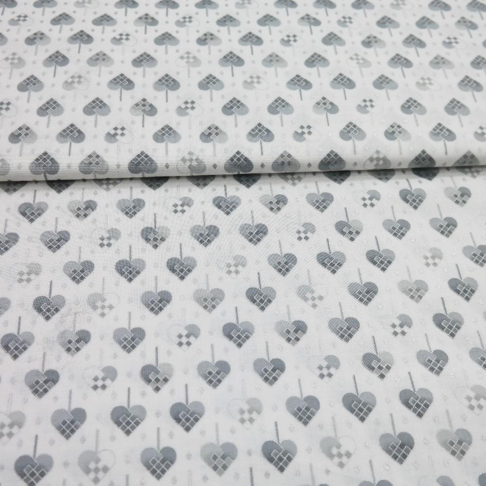 bavlna bílá šedosrtříbr.lístky