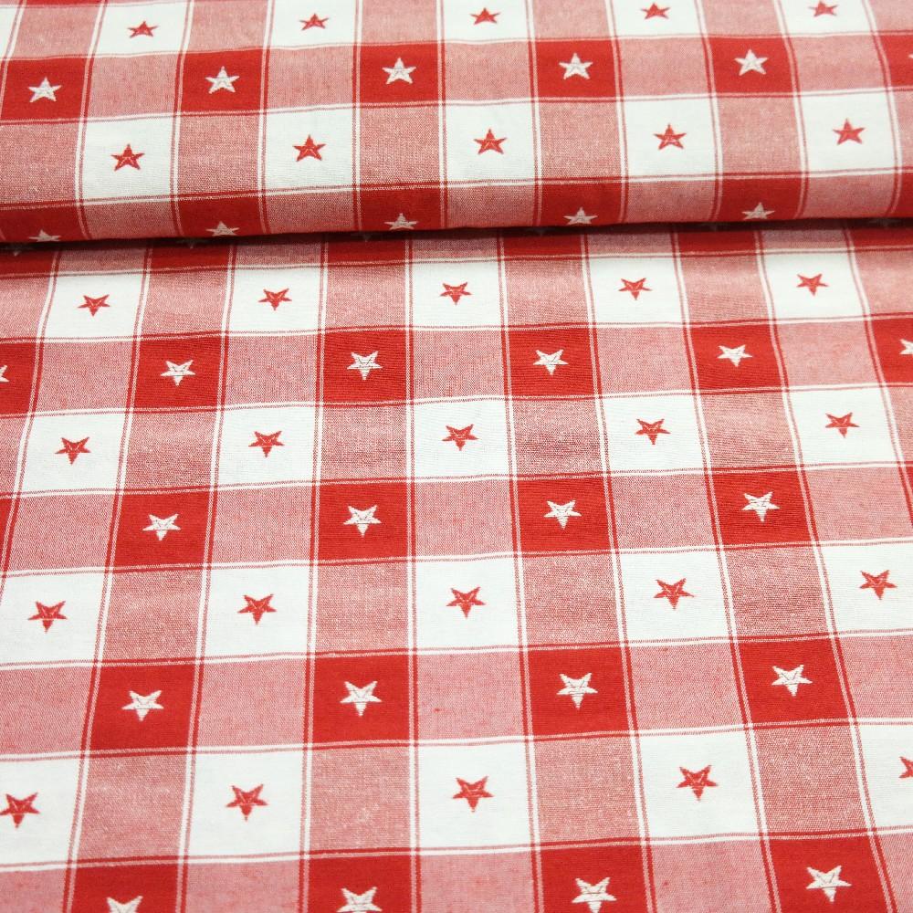 bavlna červeno/bílá kostka s hvězdičkou