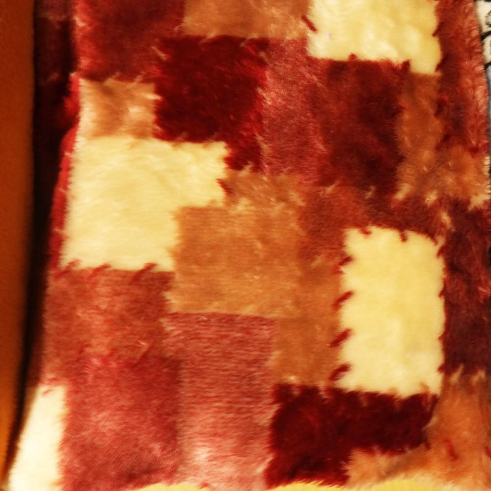 plyš patchwork vínovobílý
