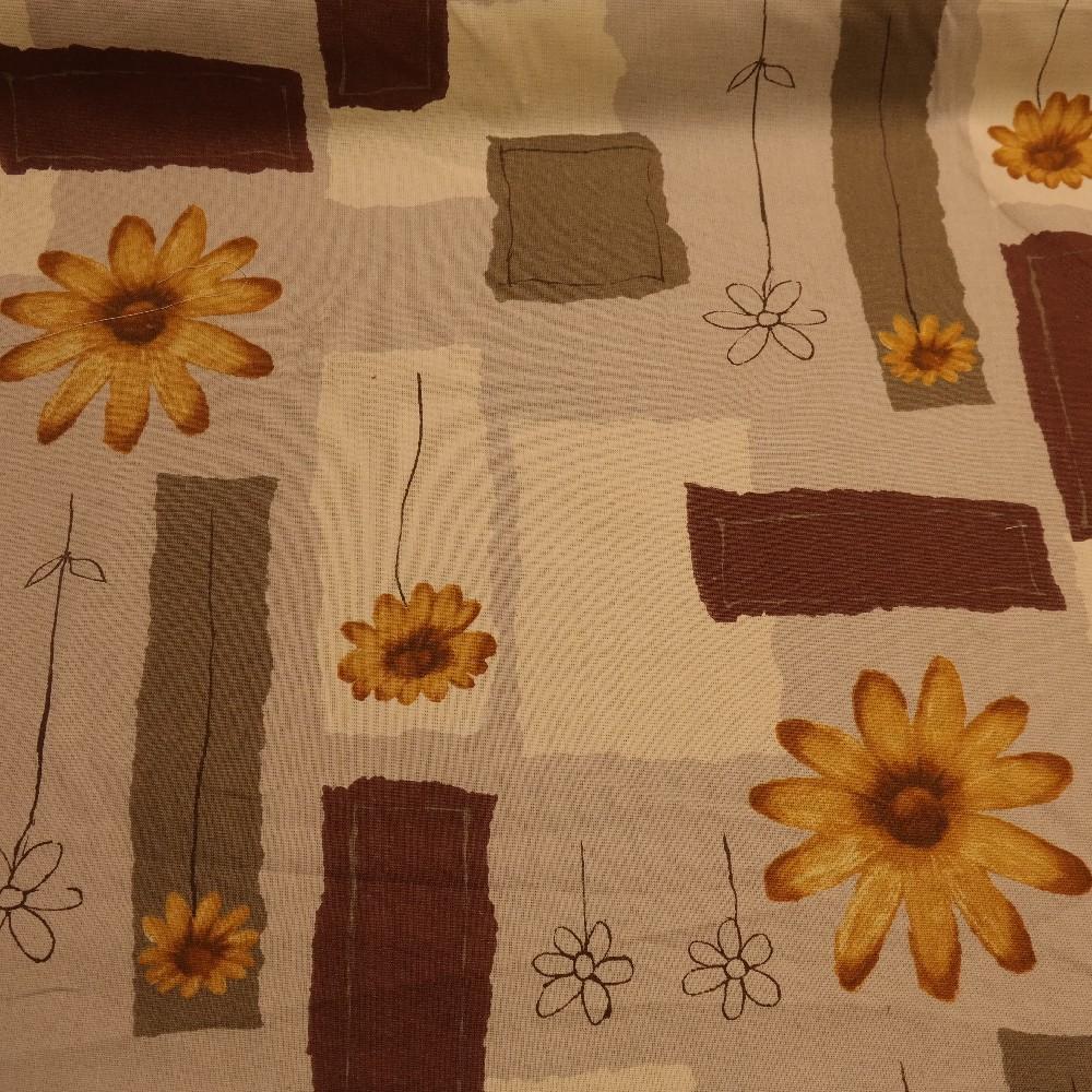 slunečníkovina krémovohnědá kytky š.140