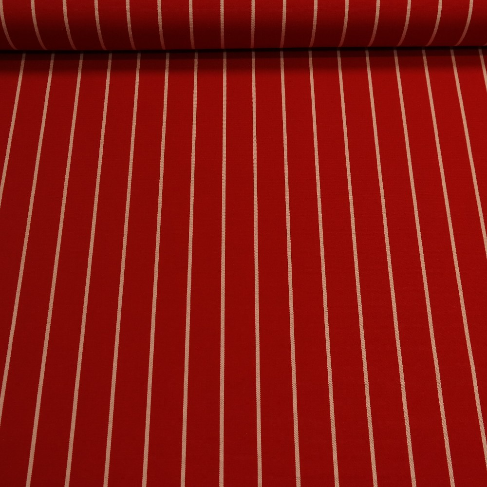 slunečníkovina červená bílý proužek š.160