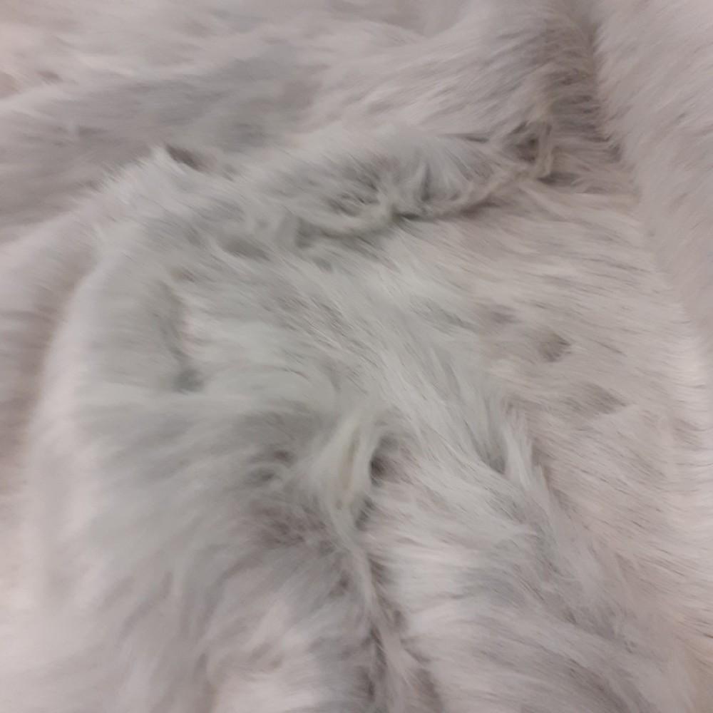 plyš šedý melír dlouchý chlup
