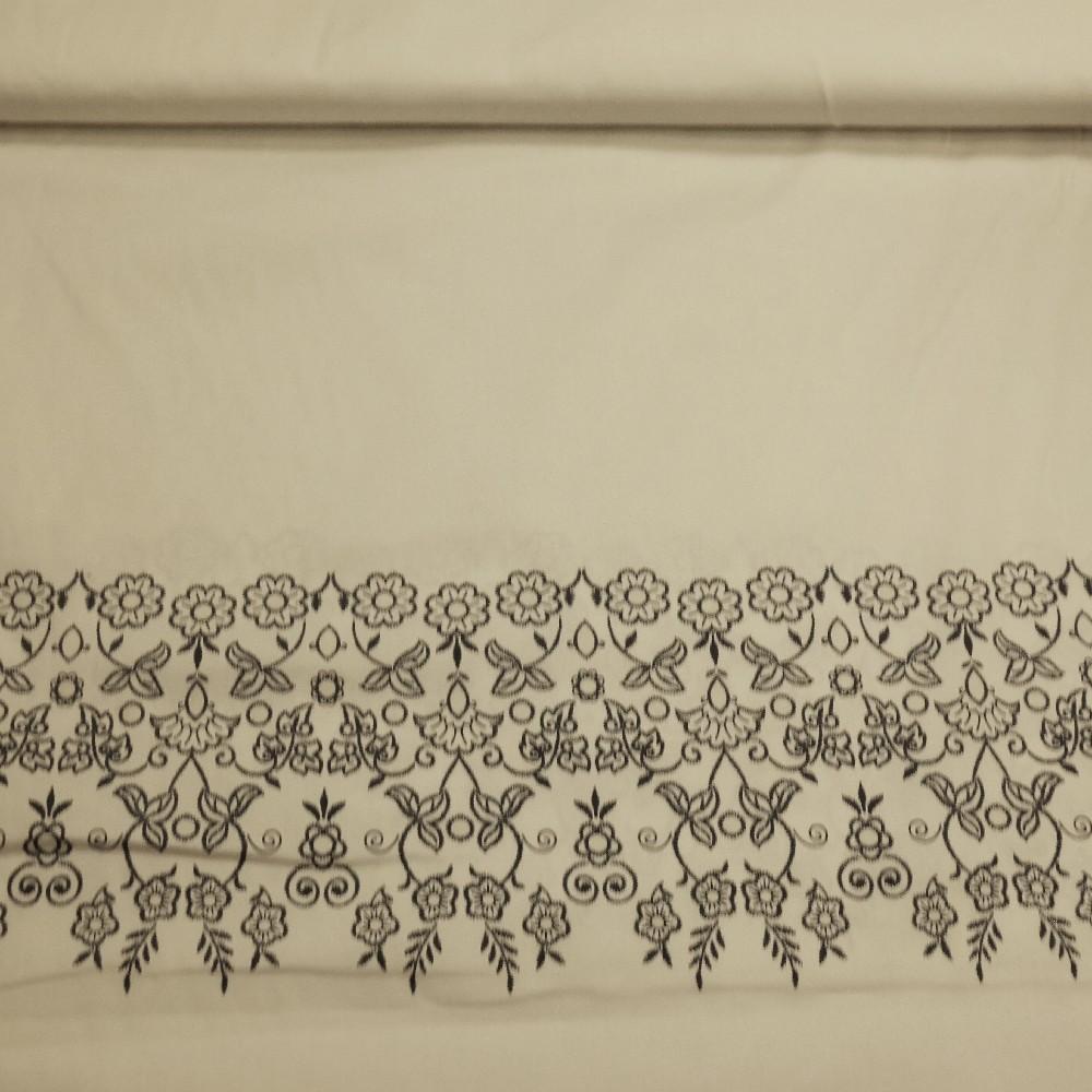 oděvní bavlna bílá s potiskem elasten