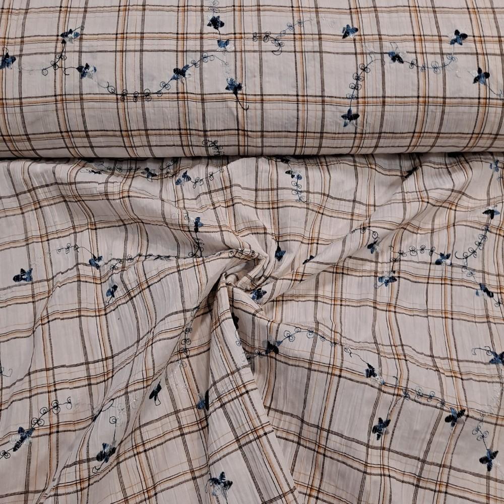 košilovina smetanová kostka výšivka modrá BA