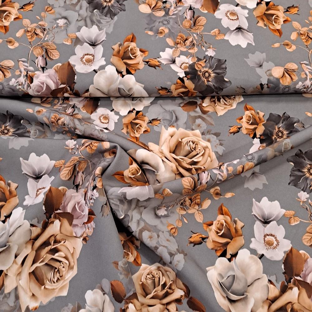 polyester šedý květy