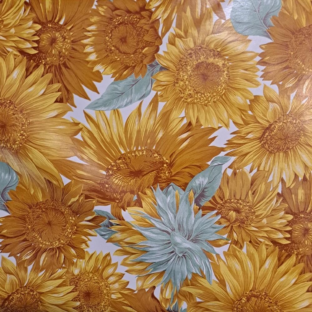 ubrus PVC žluto modrý květ