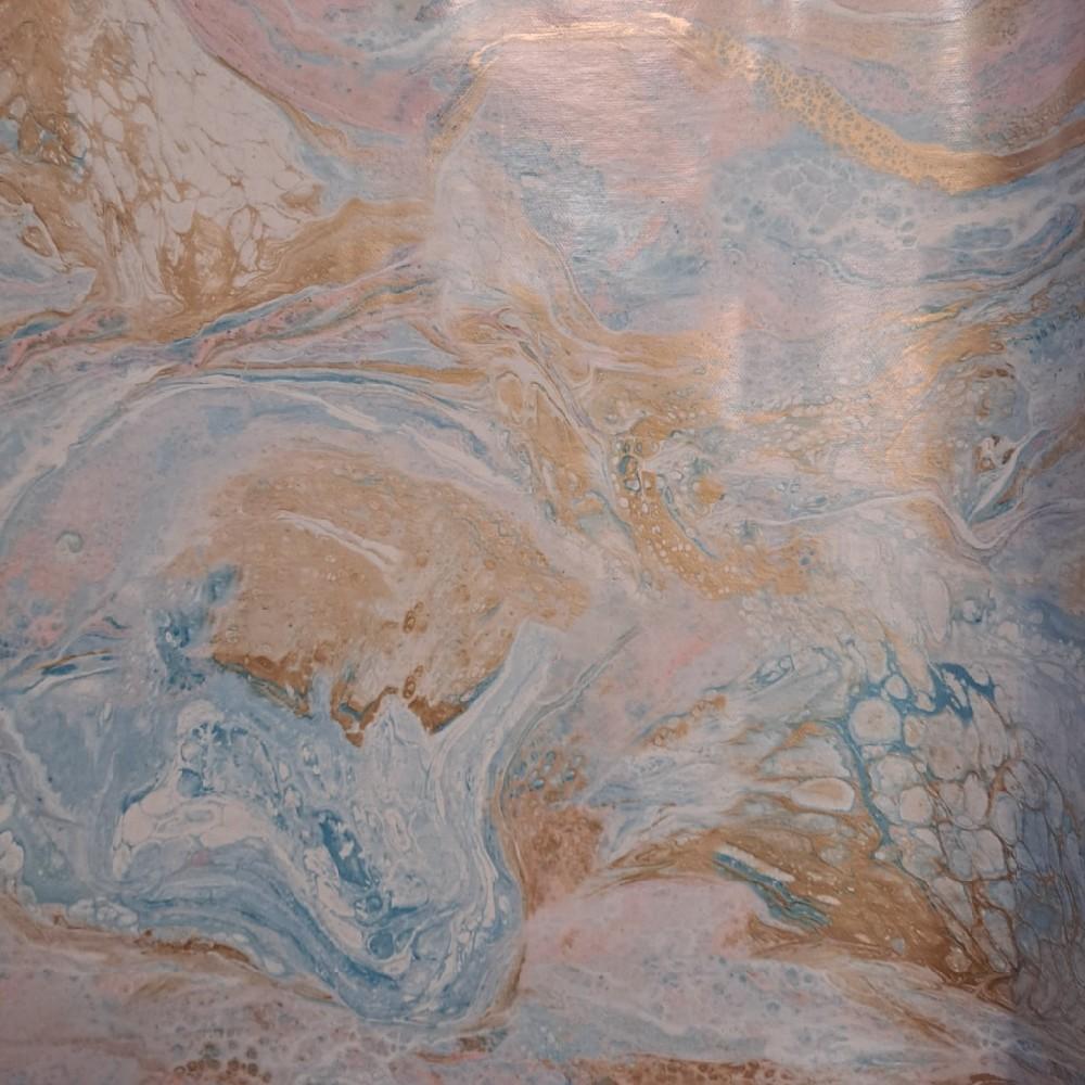 ubrus PVC růž. modr. hněd. barvy š.140