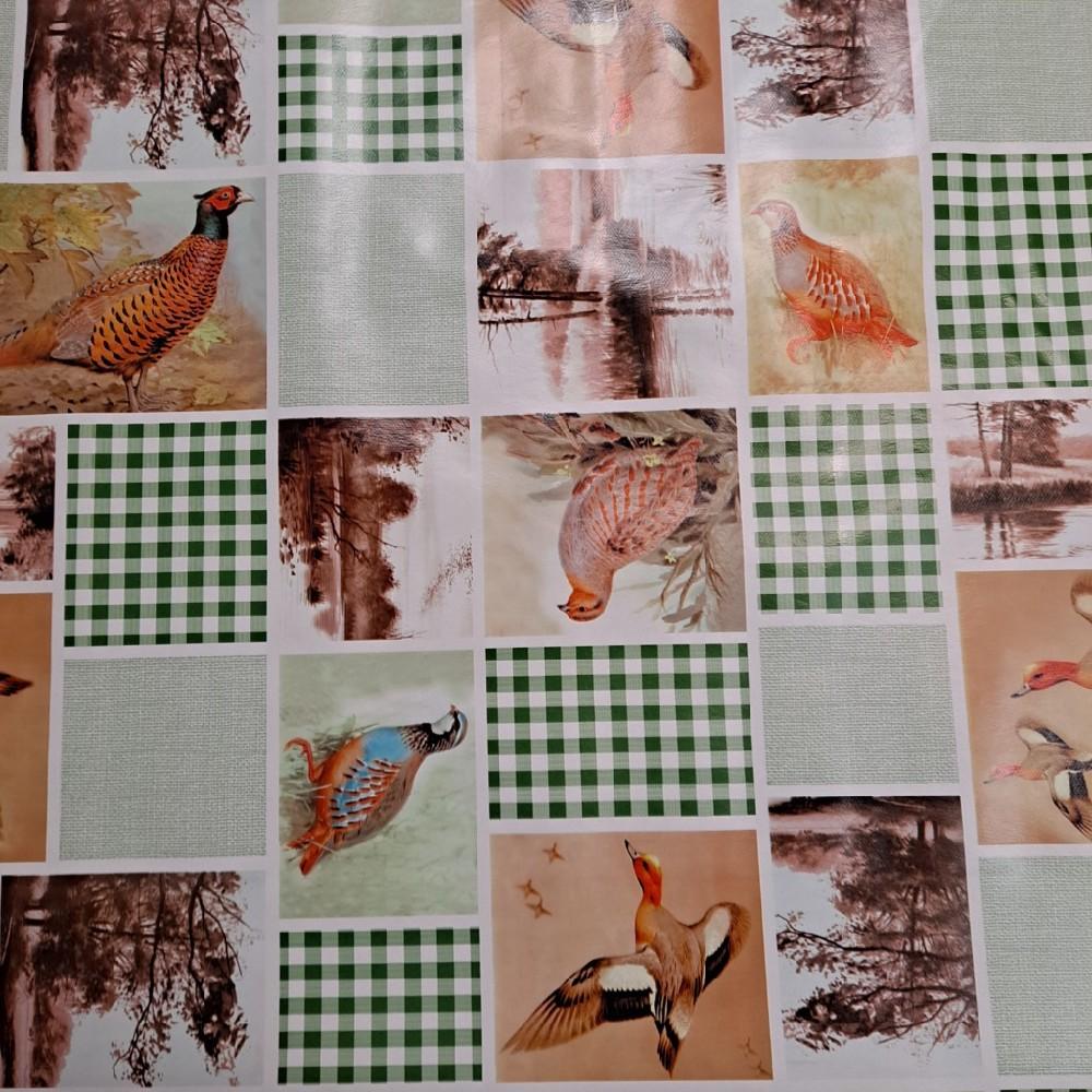 ubrus PVC zel. kostka ptáci