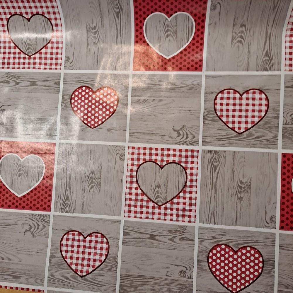 ubrus PVC šedý růž. kostky srdce