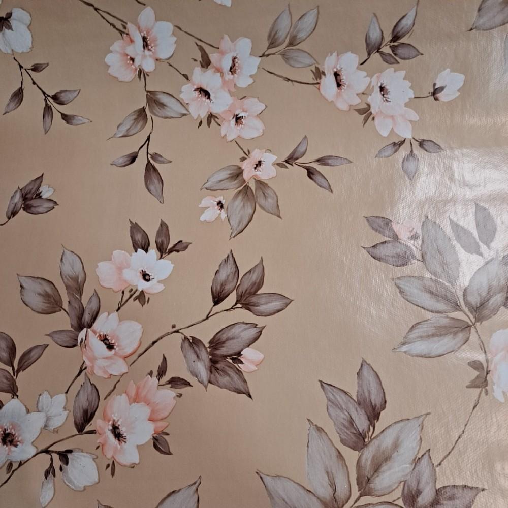 ubrus PVC sv.hnědý růž. kěř