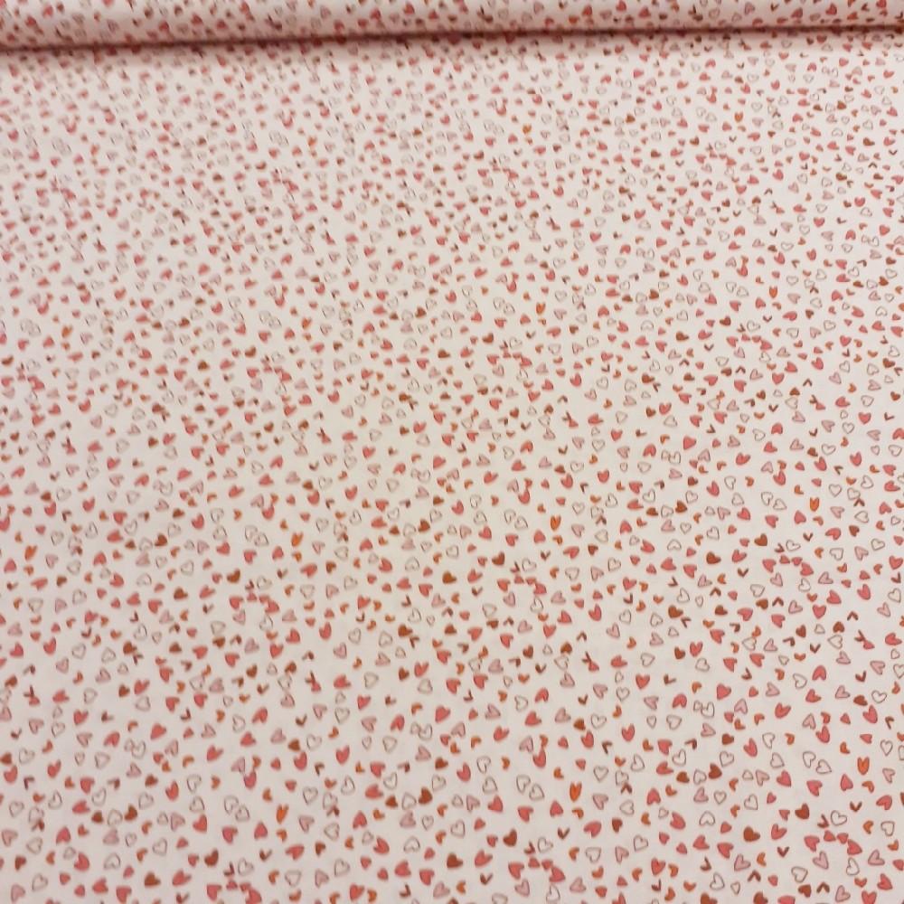 bavlna růžová srdíčka