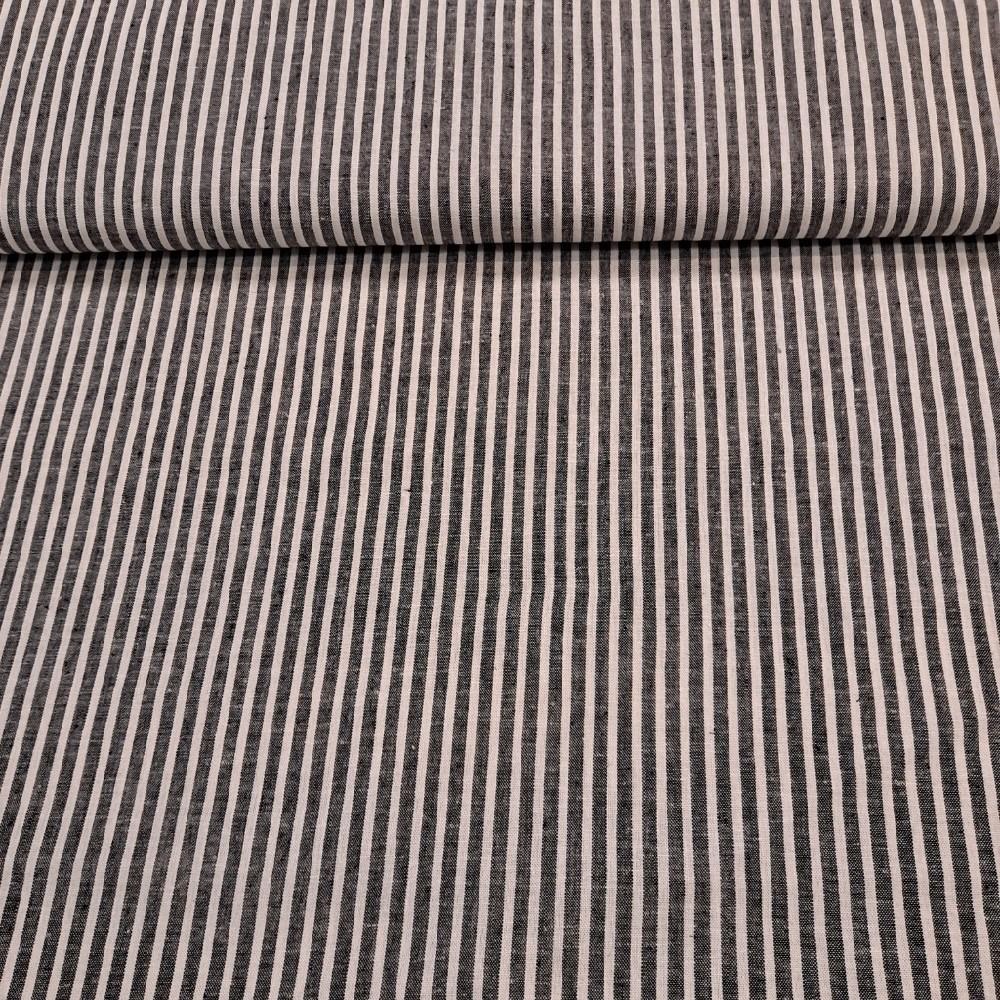 bavlna len šedý proužek