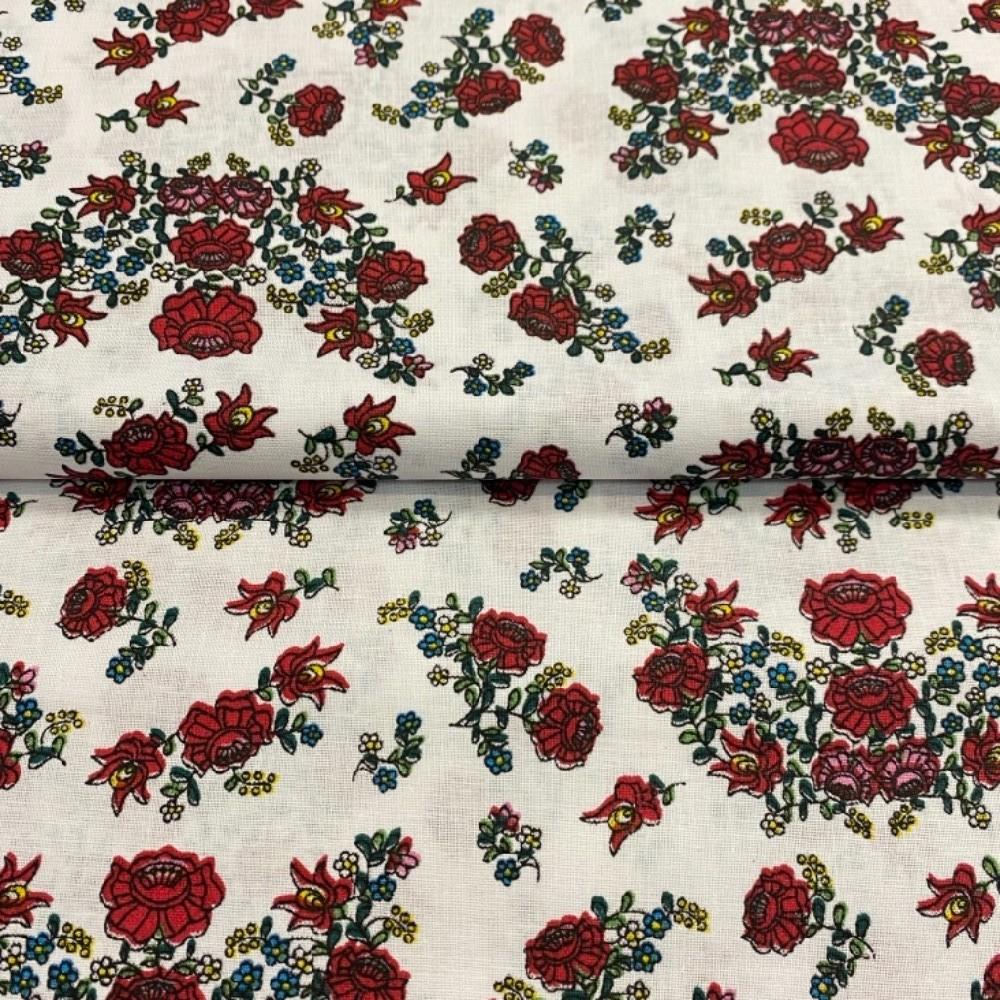 bavlna  bílá červené růže145cm