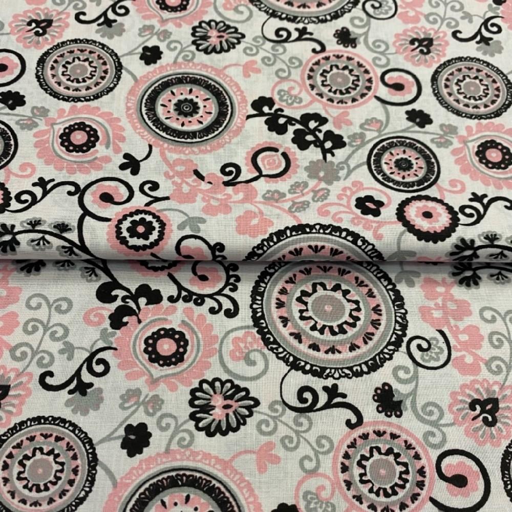 bavlna  bílá mandaly růžové145cm