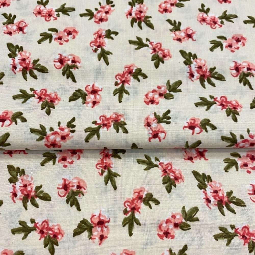 bavlna béžová růžové kytičky145cm