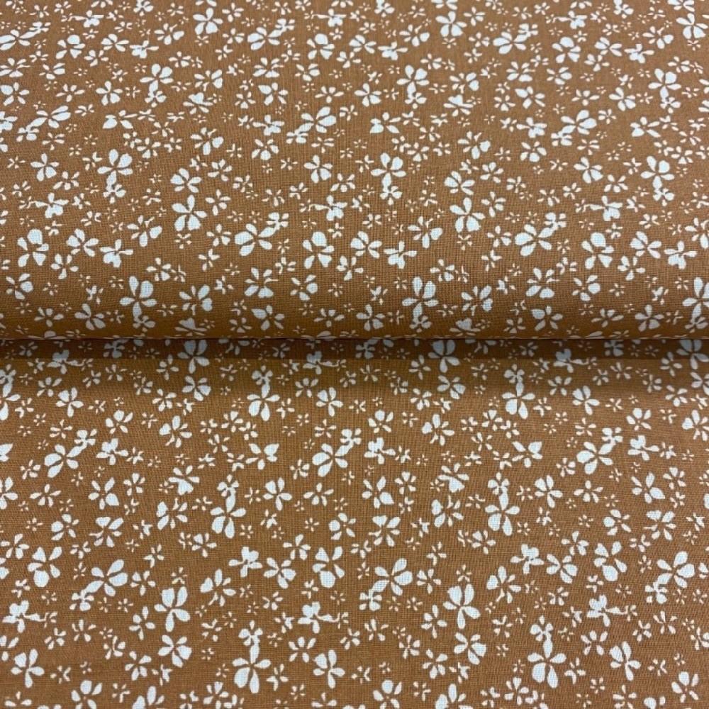 bavlna  hnědá bílé kvítky145cm