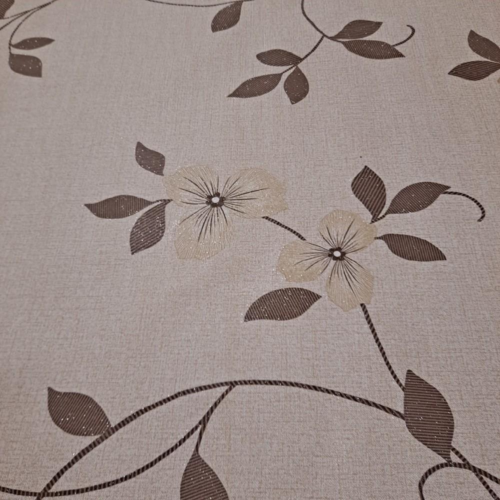 ubrus PVC sv.hnědý květ lesk