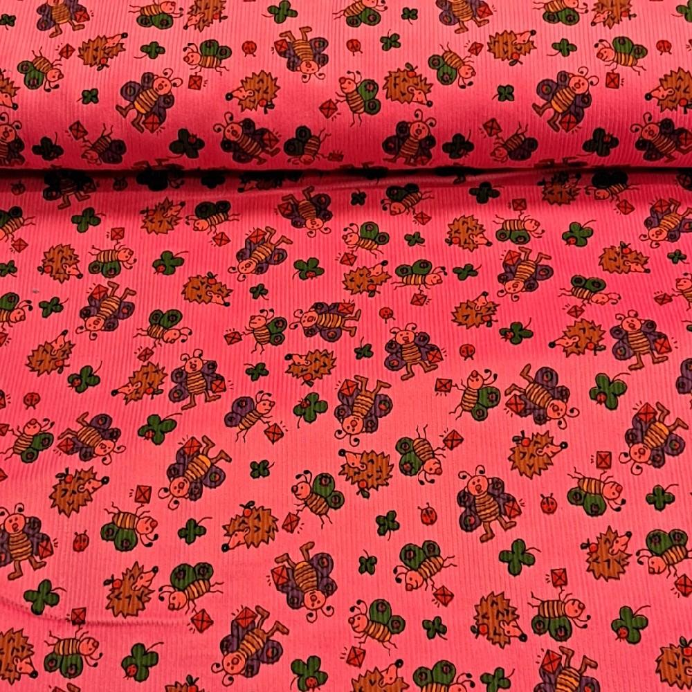 manšestr růžový s ježečky